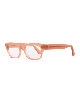Oliver Peoples Artie 50 Rectangle Fashion Glasses, Soft Peach Rose