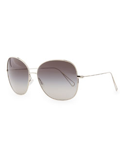 Oliver Peoples Isabel Marant par Oliver Peoples Daria 62 Oversized Sunglasses, Silver/Gray Gradient