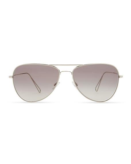 Isabel Marant par Oliver Peoples Matt 60 Aviator Sunglasses, Silver/Gray Gradient