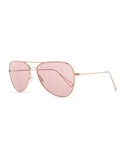 Isabel Marant par Oliver Peoples Matt 60 Aviator Sunglasses, Rose Gold/Pink