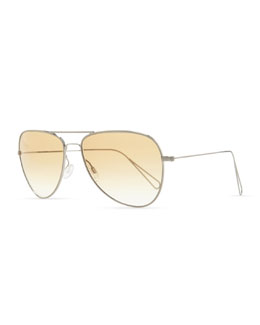 Oliver Peoples Isabel Marant par Oliver Peoples Matt 60 Aviator Sunglasses, Silver/Honey Gradient