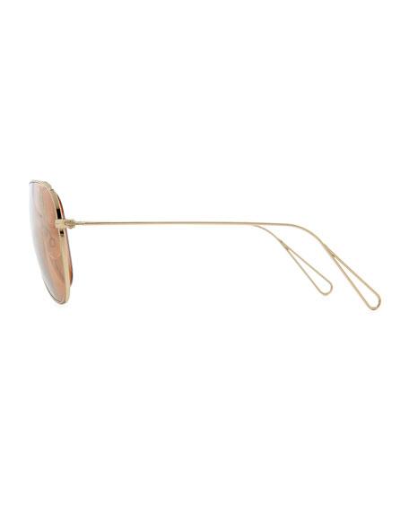 Isabel Marant par Oliver Peoples Matt 60 Aviator Sunglasses, Light Gold/Peach Mirror