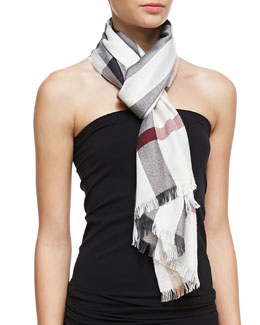 Burberry Plaid Silk Scarf, Ivory