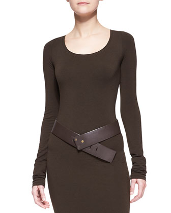 Donna Karan Wide Leather Hook Belt