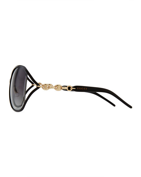 Metal Sunglasses with Chain, Black/Gold