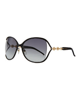 Gucci Metal Sunglasses with Chain, Black/Gold
