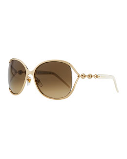 Gucci Metal Sunglasses with Chain, Gold/White