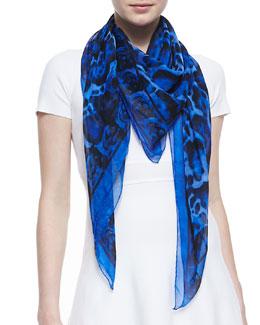 Alexander McQueen Animal-Print Silk Chiffon Scarf, Blue/Black