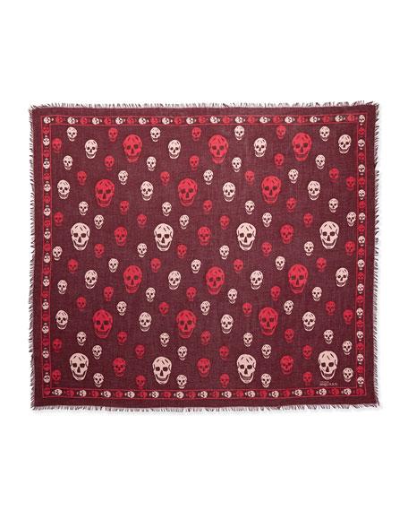 Skull-Print Shawl, Purple/Pink