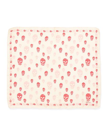 Skull-Print Chiffon Shawl, Pink