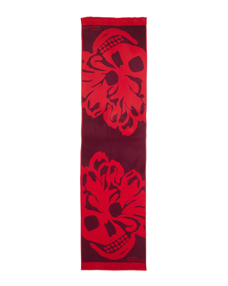 Floral Skull Oversized Wool Scarf, Red