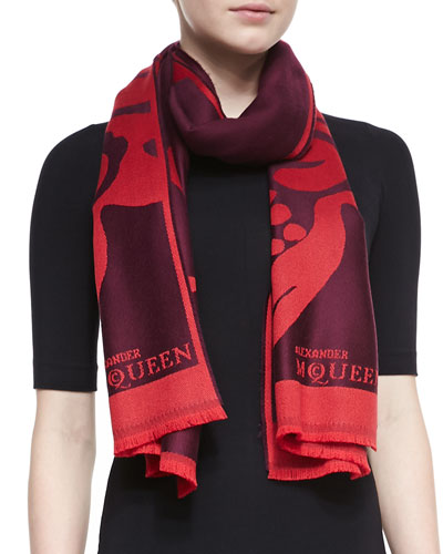 Alexander McQueen Floral Skull Oversized Wool Scarf, Red
