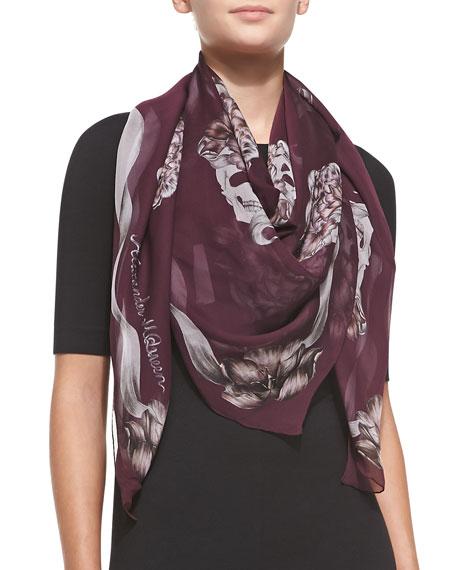Floral Skull Silk Chiffon Shawl, Purple/Pink