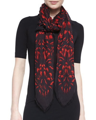 Alexander McQueen Floral Mosaic Shawl, Black/Red