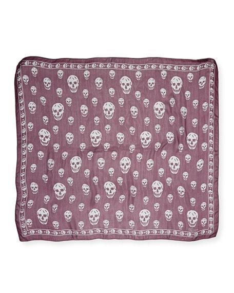 Skull-Print Chiffon Scarf, Aubergine/Gray