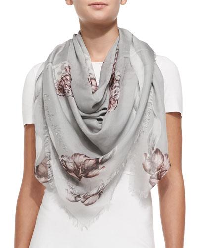 Alexander McQueen Floral Skull Shawl, Gray/Pink