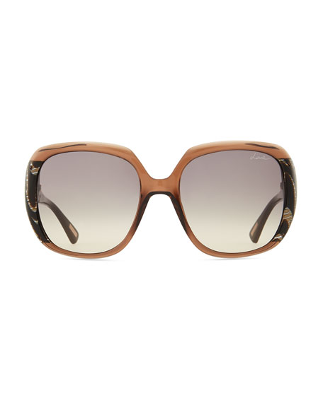 Oversized Transparent Sunglasses, Brown/Gray