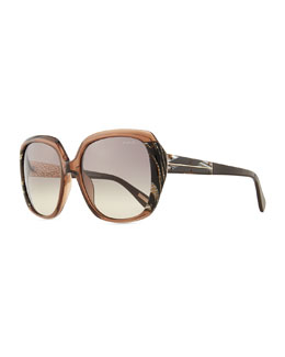 Lanvin Oversized Transparent Sunglasses, Brown/Gray