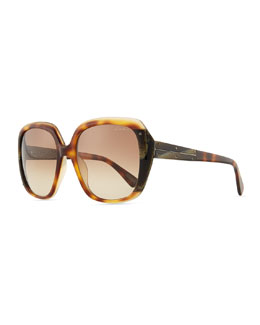 Lanvin Oversized Shiny Gradient Sunglasses, Brown/Multi