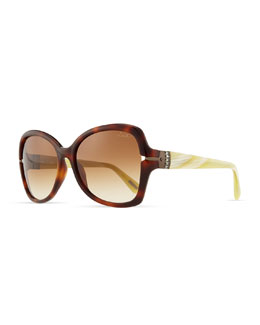 Lanvin Butterfly Tortoise Sunglasses, Dark Brown