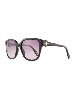 Lanvin Resin Sunglasses with Mother-of-Pearl, Black/Gray