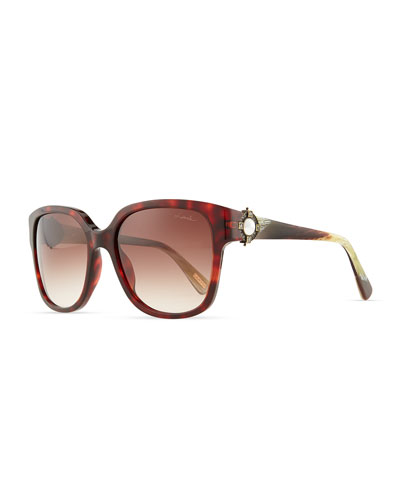 Lanvin Tortoise Sunglasses with Mother-of-Pearl, Brown