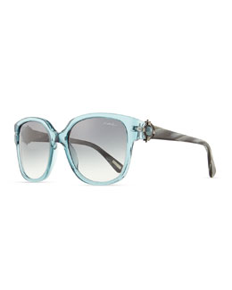 Lanvin Transparent Sunglasses with Mother-of-Pearl, Turquoise