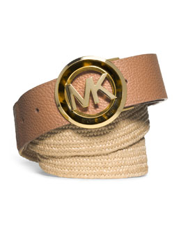 MICHAEL Michael Kors  Stretch Straw/Leather Belt