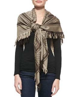 Survie GG Wool-Silk Square Stole, Brown