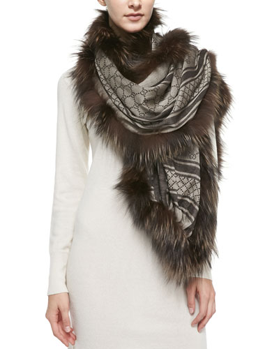 Gucci GG Stole with Fox Fur Trim, Brown