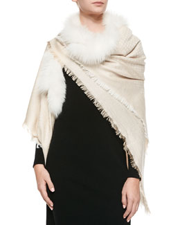 Gucci Fox-Trim Shawl, Ivory