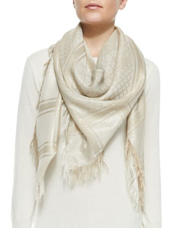 Gucci Cavendish Shawl, Ivory/Gold