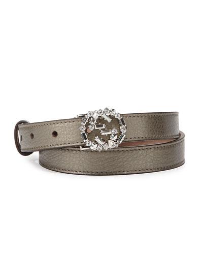 Gucci Crystal-GG-Buckle Skinny Belt