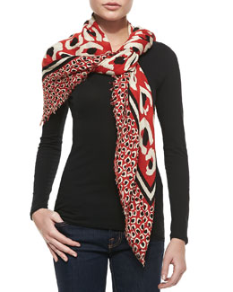 Gucci Leopard Painted Shawl, Orange/Black