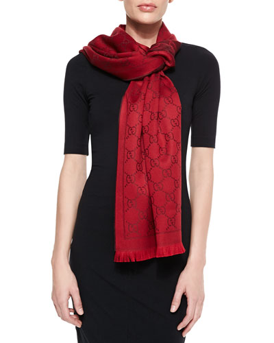 Gucci GG Woven Scarf, Red