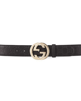 Gucci G-Adjustable Logo Leather Belt, Black