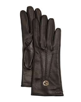 Gucci Classic Leather Driving Gloves, Black