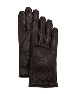 Gucci Napa Logo Driving Gloves, Cocoa