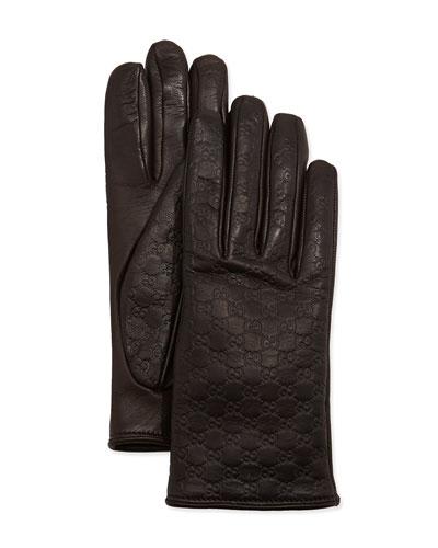 Gucci Napa Logo Driving Gloves, Cocoa