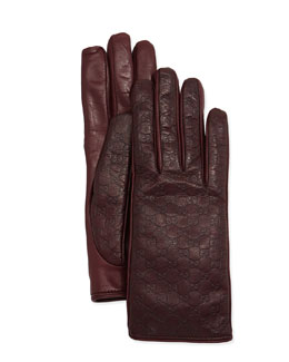 Gucci Napa Logo Driving Gloves, Burgundy