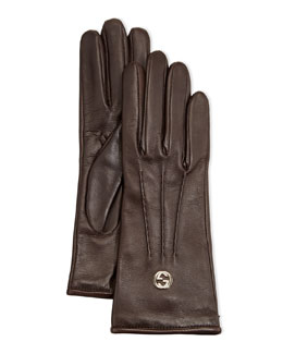 Gucci Classic Leather Driving Gloves, Cocoa