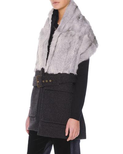 Belted Goat-Fur-Collar Vest