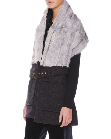 GOAT FUR BELTED WRAP WITH PO