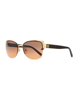 Tory Burch Rimless Sunglasses, Gray/Orange