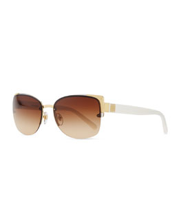 Tory Burch Rimless Sunglasses, Gold/Ivory