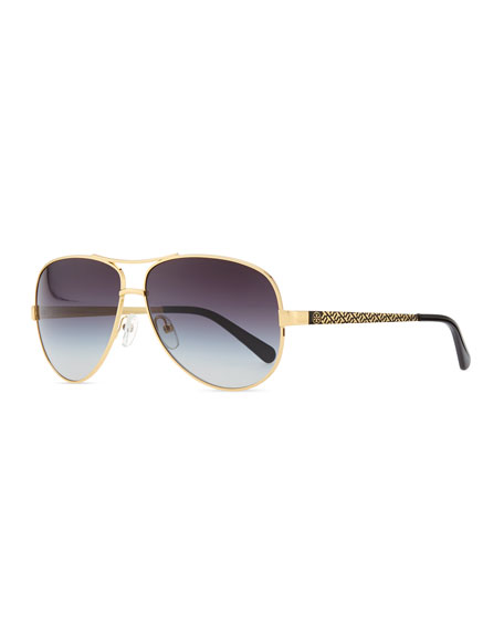 Tory BurchMetal Aviator Sunglasses with Logo Arms, Golden/Black