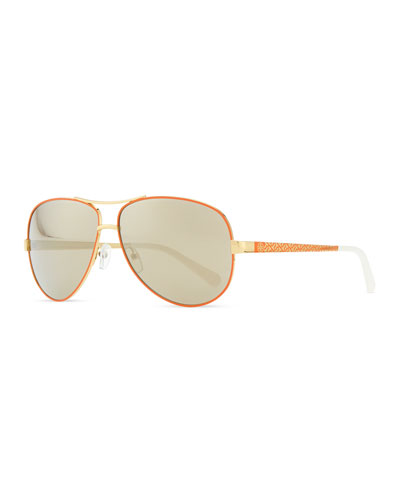 Tory Burch Metal Aviator Sunglasses with Logo Arms, Golden/Orange