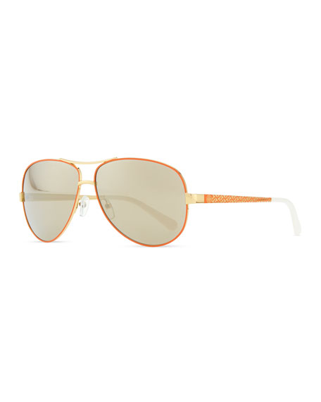 Metal Aviator Sunglasses with Logo Arms, Golden/Orange
