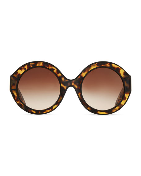 Round Tortoise Plastic Sunglasses, Black/Brown