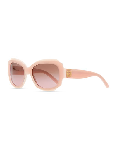 Tory Burch Two-Tone Plastic Sunglasses with Logo, Pink/Ivory